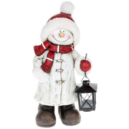 Very Large Cheery Snowman With Lantern